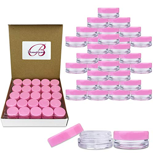 (100 Pcs) Beauticom 3G/3ML Round PINK Screw Cap Lid with Clear Base empty Plastic Container Jars for Cosmetic Cream Pot Makeup Eye Shadow Nails Powder Jewelry (Quantity: 100 Pieces) : Beauty