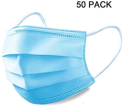 OIMYE 50Pcs Disposable 3-Layer Protective Face Masks: Home Improvement