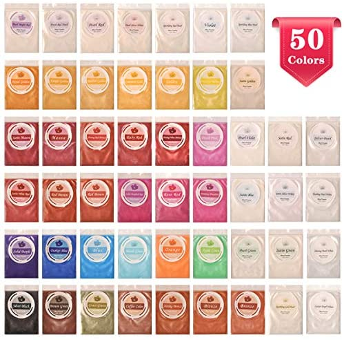50 Colors Mica Powder, Coloring Soap Dye, Epoxy Resin Dye, Pigment for Paint Art, Bath Bomb, Soap Making Supplies, Makeup, Lip Gloss, Cosmetic, Eyeshadow