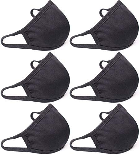 QueensFace 3D Cotton Face Mask Mouth Cover 2 Layer Thin Black (6 Pack): Home Improvement