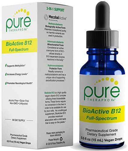 BioActive B12 Full-Spectrum (Sublingual Drops) 90 Day Supply: 4,000 mcg Per Serving | Includes 3-in-1 Bioavailable: Methylcobalamin, Adenosylcobalamin and Hydroxocobalamin | Vegan: Health & Personal Care