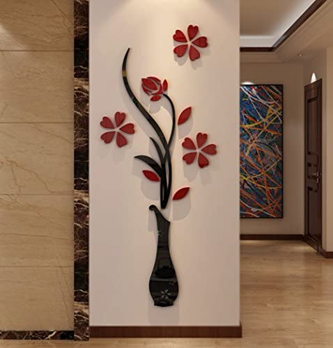 Hermione Baby 3D Vase Wall Murals for Living Room Bedroom Sofa Backdrop Tv Wall Background, Originality Stickers Gift, DIY Wall Decal Wall Decor Wall Decorations (Red, 59 X 23 inches): Home & Kitchen