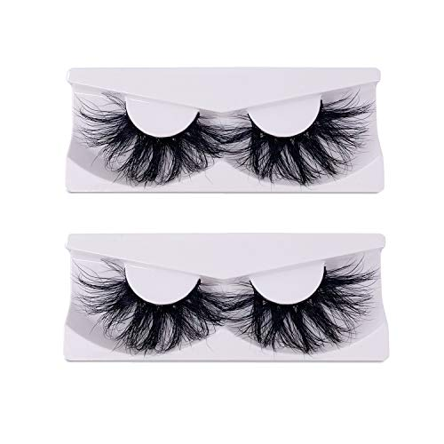 Newcally 25mm Real Mink Lashes 2 Pairs 5D Mink False Eyelashes Dramatic Long Thick Cross Lashes : Beauty