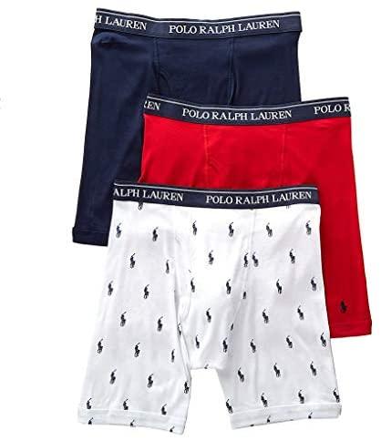 Polo Ralph Lauren Men's Classic Fit w/Wicking 3-Pack Long Leg Boxer Briefs at Men's Clothing store