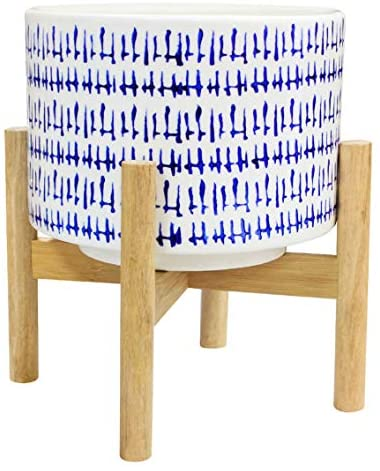 Ceramic Plant Pot with Wood Stand - 7.3 Inch Modern Round Decorative Flower Pot Indoor with Wood Planter Holder, Blue and White, Home Decor Gift : Garden & Outdoor