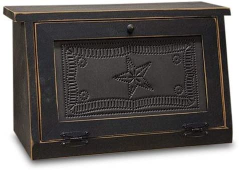 Rustic Farmhouse Solid Wood and Tin Breadbox with Star Punch Design. Vintage Style Bread Storage Container is a piece of furniture that will be passed on for Generations: Kitchen & Dining