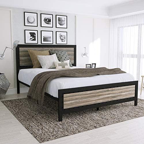 Urest Queen Size Bed Frame with Headboard/Platform Bed/Metal Bed Frame/Strong Slat Support/No Box Spring Needed, Black: Kitchen & Dining