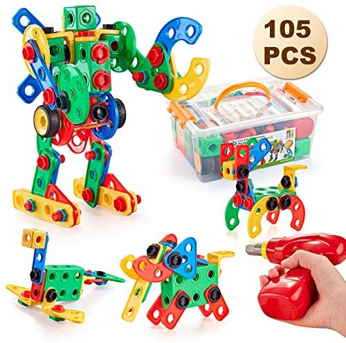 GARUNK 105 Pieces STEM Toys Kit, Educational Construction Engineering Building Blocks Learning Set for Ages 3 4 5 6 7 8 9 10 Year Old Boys & Girls with Power Drill, Creative Games & Fun Activity: Toys & Games