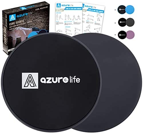 A AZURELIFE Exercise Core Sliders, 2 Pack Dual Sided Exercise Gliding Discs Use on All Surfaces, Light and Portable, Perfect for Abdominal&Core Workouts : Sports & Outdoors