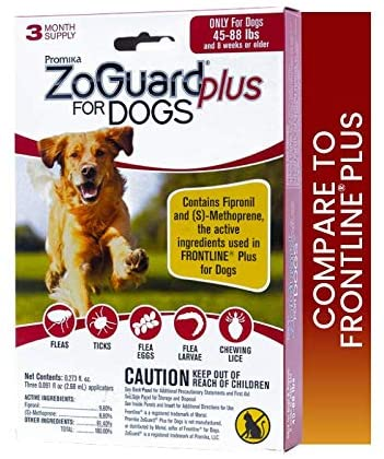 ZoGuard Plus Flea and Tick Prevention for Dogs, Large, 45-88 lbs (3 Dose) : Pet Supplies