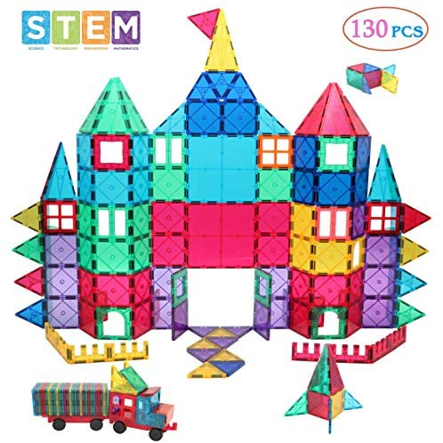 Manve Magnetic Building Blocks Tiles Toy, Magnet Toys 130 Pcs STEM Toddler Learning Toys Kit, Kids Educational Construction Engineering Toys Set: Toys & Games