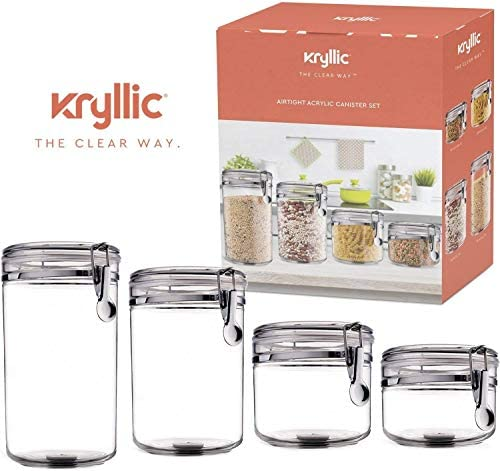Food Storage containers canister set - Set of 4 Air Tight Canisters with lids for dry flour Cereal coffee rice acrylic plastic clear glass airtight cannister for kitchen: Kitchen & Dining