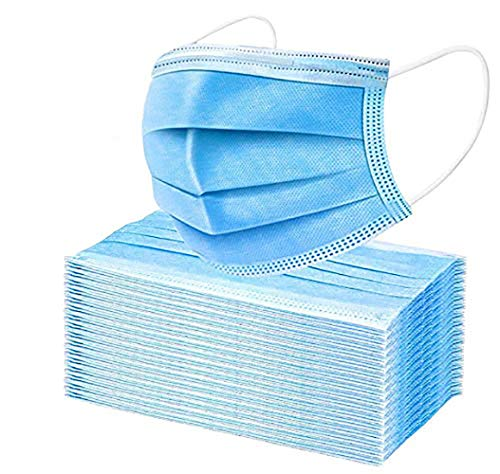 100 PCS 3-Ply Universal Face mαsks Dustproof Mouth Protector Prevent Sneeze Droplets (100, Blue) : Beauty