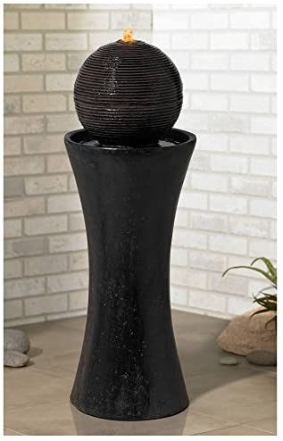 "John Timberland Dark Sphere Modern Zen Outdoor Floor Water Fountain with Light LED 30"" High Bubbler Pillar for Yard Garden Patio Deck Home: Home & Kitchen"