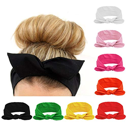 Habibee Women Headbands Turban Headwraps Hair Band Bows Accessories for Fashion Or Sport (Solid Color 8pcs): Beauty