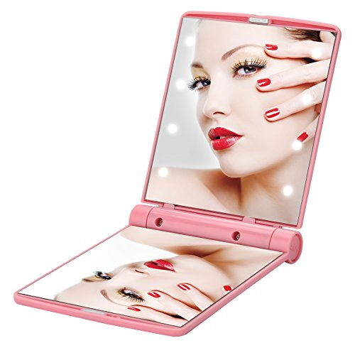 Lighted Folding Tavel Mirror Compact Led Mirrors Handheld Makeup Mini Portable Cosmetic Pocket Small Purse Size Bright Light Up In Dark Focus Illuminated For Girls (Pink): Beauty