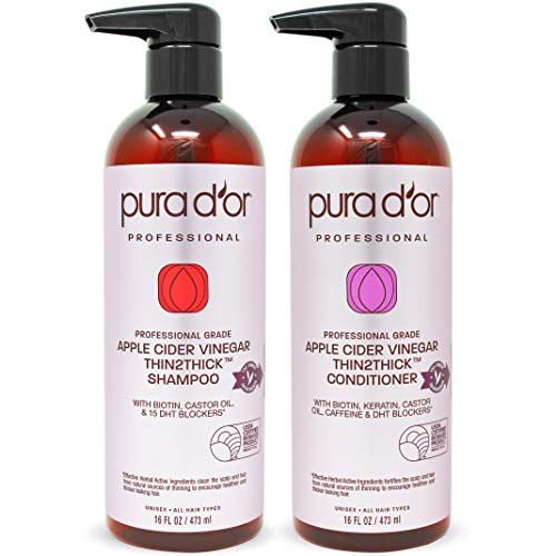 PURA D'OR Apple Cider Vinegar Thin2Thick Set Shampoo & Deep Conditioner (2 x 16oz) Biotin, Keratin, Caffeine, Castor Oil, Sulfate Free, Natural Ingredients, All Hair Types, Men-Women (Packaging vary) : Beauty