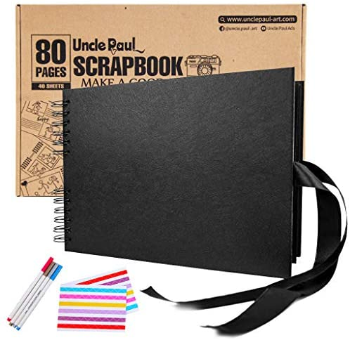 Uncle Paul DIY Scrapbooking Albums - 80 Pages 11.7x8.3 inch Scrapbook Photo Album Our Adventure Book with DIY Accessories Kit for Anniversary Wedding Travel Black DS01bk