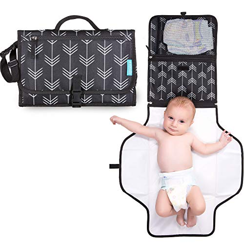 Portable Diaper Changing Pad with Head Pillow - Foldable Travel Diaper Station - Replaces Heavy Diaper Bag - Baby Shower Gift Registry Must Have (Dark Gray) : Baby