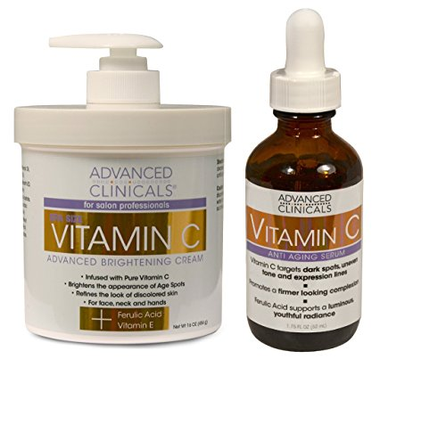 Advanced Clinicals Vitamin C Skin Care set for face and body. Spa Size 16oz Vitamin C cream and Vitamin C face serum for dark spots, age spots, uneven skin tone in as little as 4 weeks! : Beauty