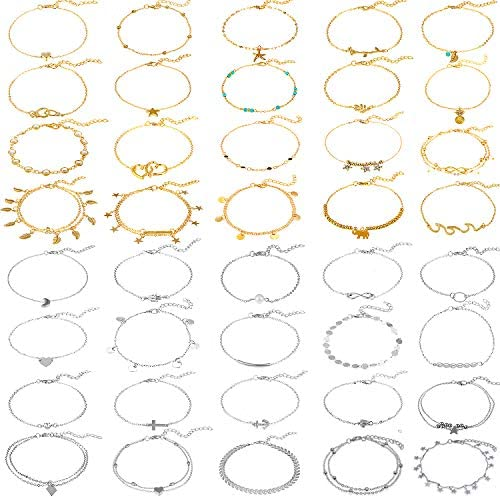 40 Pieces Adjustable Beach Anklets Boho Anklet Bracelets Boho Foot Chains for Women Girls(Gold, Silver): Jewelry
