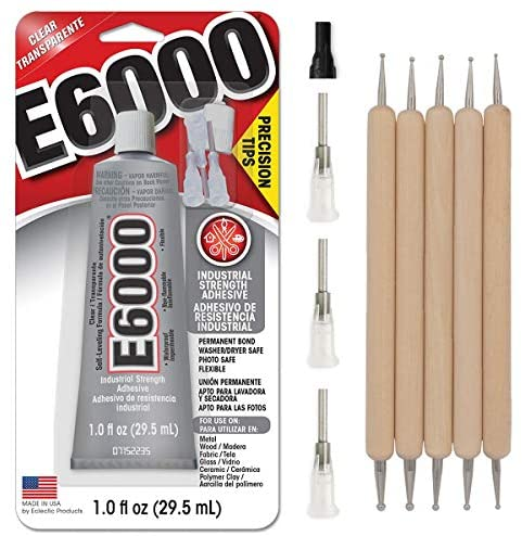E6000 1-Ounce Tube with Precision Tips Industrial Strength Adhesive for Crafting and Pixiss Wooden Art Dotting Stylus Pens 5 pcs Set - Rhinestone Applicator Kit : Office Products