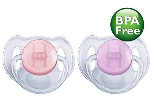 Philips Avent Translucent Toddler Pacifiers 6-18 Months - 2 Pack, Purple/Pink : Baby