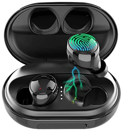 Wireless Earbuds Bluetooth 5.0 Headphones, 120H Playtime Deep Bass Stereo Sound Earbuds with Microphone, IPX8 Waterproof Headphones with Charging Case for Sports: Home Audio & Theater