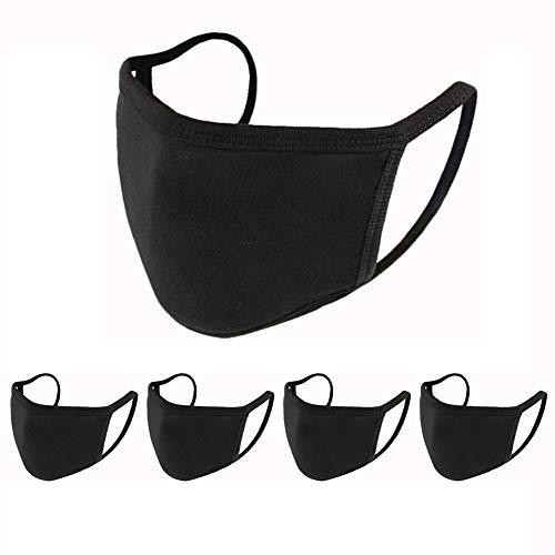 5 Pcs Face Shield Unisex Black Cotton Washable, Reusable Cotton Fabric: Beauty