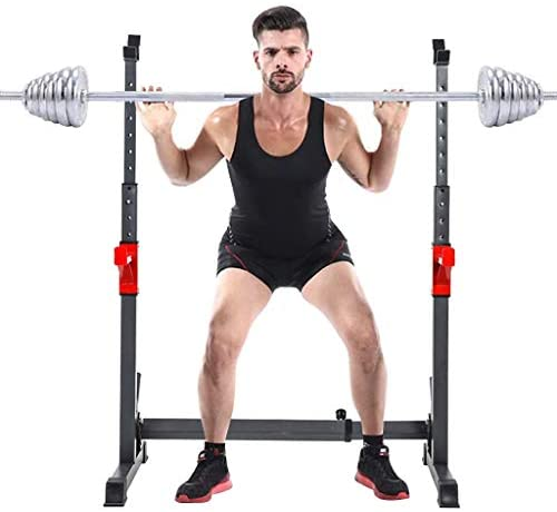 """Fiudx Dumbbell Racks, Adjustable 43.5"""" to 67.5"""" Rack Sturdy Steel Squat Barbell Rack, Max Load 550Lbs, Multi-Function Squat Stand Dipping Station, Weight Racks, Barbell Rack Squat Stand, Home Workout Dumbbell Rack Storage Stand : Sports & Outdoors"""