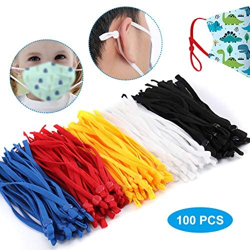 TOOVREN 100 Pieces Elastic String for Masks with Adjustable Buckle, Adult Children Stretchy Bands Cord with Adjuster Cord Lock Face Cover Earloop Rope for DIY Mask Sewing-5 Assorted Colors