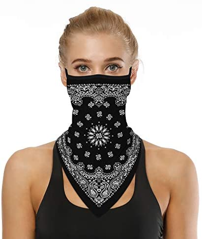 LOLONG Face Bandana Ear Loops Stylish Men Women Neck Gaiters for Dust Wind Motorcycle: Clothing