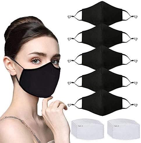 5 Pcs Unisex Fashion Cotton Cloth Dust Face Bandanas with Nose Bridge Reusable Washable Adjustable with 10 Pcs Replacement Carbon Filters for Man and Women(Black)