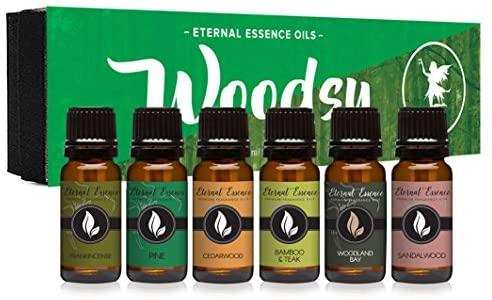 Woodsy Gift Set of 6 Premium Grade Fragrance Oils - Frankincense, Pine, Cedarwood, Bamboo & Teak, Woodland Bay, Sandalwood - 10Ml - Scented Oils: Health & Personal Care