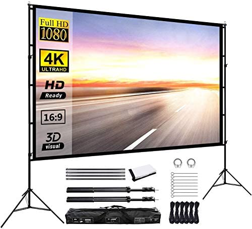 Projector Screen with Stand 120inch Portable Projection Screen 16:9 4K HD Rear Front Projections Movies Screen for Indoor Outdoor Home Theater Backyard Cinema Trave: Home Audio & Theater