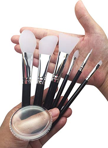 JJMG 7pcs Clear Silicone Makeup Brush Applicator Sponge Perfect for Eye Blush Lips BB CC Cream Foundation Concealer Blending Air Cushion Cosmetics Blender (Set of 7 Silicone Brush & Silisponge): Beauty