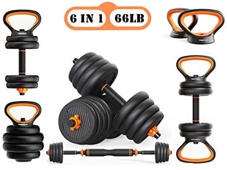 【6 in 1】 Adjustable Weights Dumbbells Barbell Kettlebell Push-up Set, Free Wight Dumb Bells Sets for Men Or Women, Adjustable Bar Bells Dumbbell Weight 20lb 25lb 30lb 45lb 66lb, Weight Up to 66lb/30kg. : Sports & Outdoors