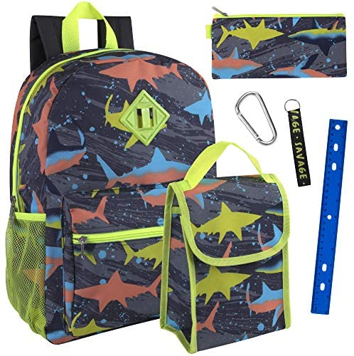 Boy's 6 in 1 Backpack Set With Lunch Bag, Pencil Case, Bottle, Keychain, Clip | Kids' Backpacks