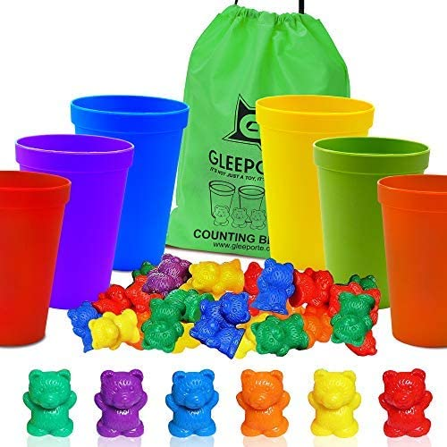 Colorful Counting Bears With Coordinated Sorting Cups | Montessori Sorting And Counting Toy | Educational For Toddlers And Children (67 Pcs Set) | 60 Bears | 6 Cups | Storage Bag: Toys & Games