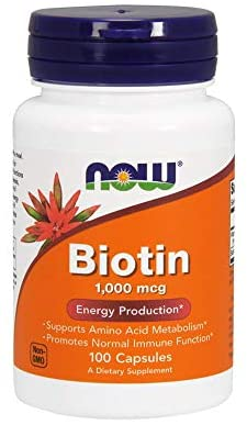 NOW Supplements, Biotin 1,000 mcg, Amino Acid Metabolism*, Energy Production*, 100 Capsules: Health & Personal Care