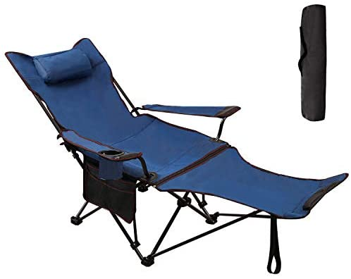 RedSwing Recliner Camping Chair with Footrest, Folding Camp Chairs for Adults, Heavy Duty Lightweight and Portable, 300lbs Weight Capacity, Blue: Kitchen & Dining
