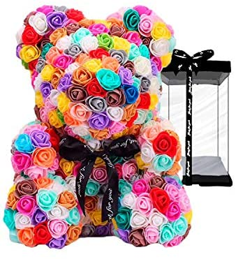 meosu Rose Flower Teddy Bear,Fully Assembled 10 Inches PE Rose Flower Hand Made Artificial Teddy Bear, for Your Lover or Kids (Colorful): Kitchen & Dining