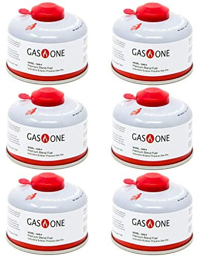 GasOne Camping Fuel Blend Isobutane Fuel Canister 100gram (6 Pack) : Sports & Outdoors