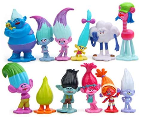 "12pcs Trolls Toys, Mini Trolls Action Figures ,Cake Toppers ,Trolls Cake Tall 1.18""-2.76""(3-6cm ): Toys & Games"