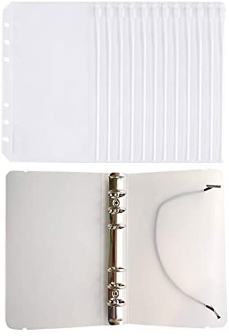 FJCA 12pcs Plastic Clear Binder Envelopes 4 1/5 x 6 3/4 Loose Leaf Bags Budget Envelope System, with Binder Cover : Office Products