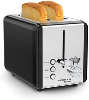 2 Slice Stainless Steel Toaster, whall Toaster Best Rated Prime - 6 Bread Shade Settings, Bagel/Defrost/Cancel Function, 1.5in Extra Wide Slots, Removable Crumb Tray, Toast Evenly and Quickly for Various Bread Types (850W, Black): Kitchen & Dining