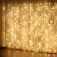 JMEXSUSS Remote Control Curtain Lights, 300 LED Window Curtain String Light for Wedding Party Backdrop Home Garden Bedroom Outdoor Indoor Wall Hang, Halloween Lights (Warm White): Home Improvement