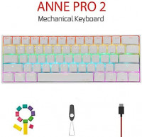 CORN Anne Pro 2 Mechanical Gaming Keyboard 60% True RGB Backlit - Wired/Wireless Bluetooth 5.0 PBT Type-c Up to 8 Hours Extended Battery Life, Full Keys Programmable (Gateron Brown, White): Computers & Accessories