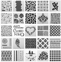 SOTOGO 25 Pcs Mixed Pattern Hollow Out Painting Stencils Square Shape Journal Stencil Plastic Planner Stencils for Painting on Wood/Journal/Notebook/Diary/Scrapbook DIY Drawing Template Stencil