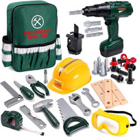 Toyssa Kids Tool Set 32 pcs Tools for Kids Construction Tools Set Kids Tool Kit for Toddlers Boys Ages 3 4 5 6 7 Years Old with Backbag: Toys & Games